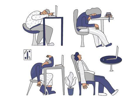 Sindrome da burnout professionale. Persona seduta a tavola e addormentata. Personaggio esausto al lavoro. Illustrazione vettoriale piatto.