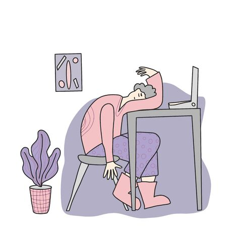 Professional burnout syndrome. Person sitting at the table and sleeping. Exhausted man at work. Flat vector illustration.