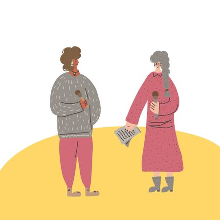 Two female speakers characters. Young fancy women standing with microphone and having a conversation. Orator speaking. Girls with mike in full length. Vector flat color illustartion.