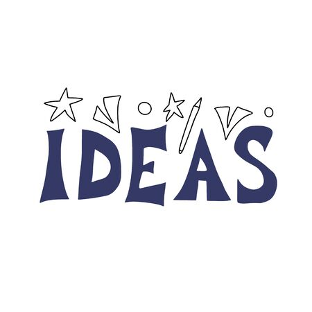 Idea text in doodle style. Vector illustartion.
