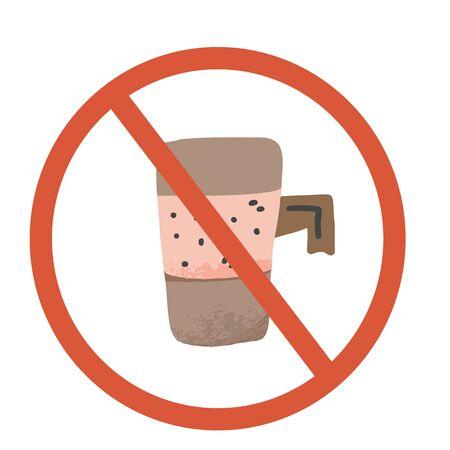 Stop coffee sign icon. Restrict symbol. Vector illustration. Vector Illustratie