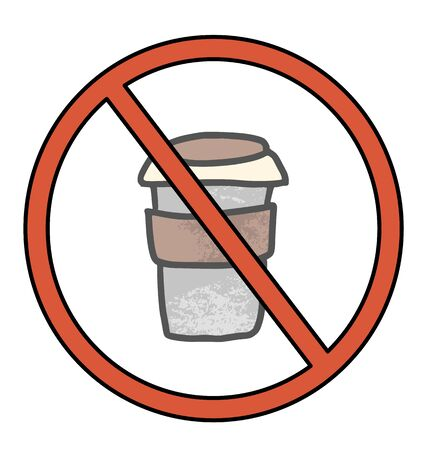 Stop coffee sign icon. Restrict symbol. Vector illustration.