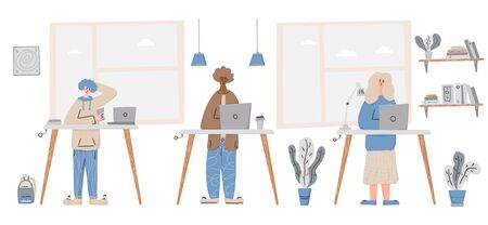 Coworking. People working. cute young various characters study together. Vector flat cartoon color illustration.