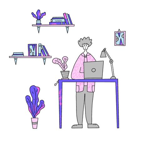 Happy boy standing at the desk with laptop at his office. Vector illustration.