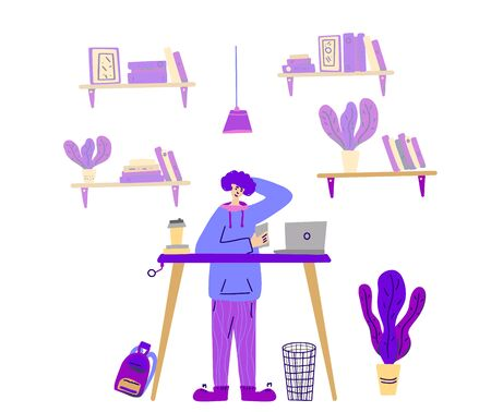 Student standing at the desk with laptop at his room. Happy young man using his phone instead doing prep. Home office concept. Vector color illustration.