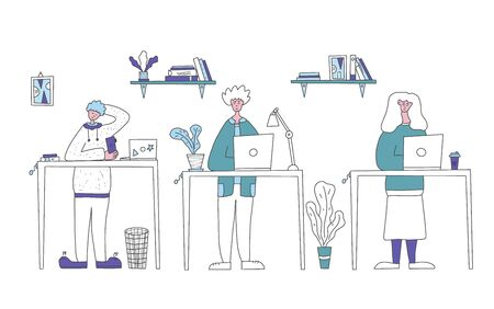 Working people. Employees coworking space concept. Students listenning a lecture. Vector illustration in doodle style.