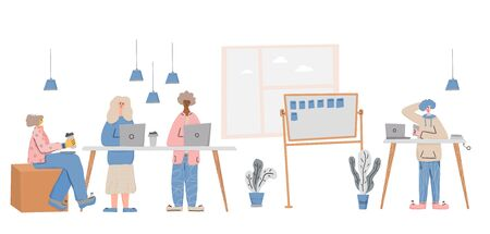 Office lifestyle. Working people. Men and women colleagues. Employees coworking space concept. Vector flat cartoon color illustration.