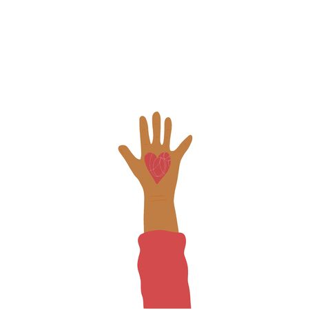 Volunteer concept. Handdrawn palm of human which do charity. Vector illustartion.