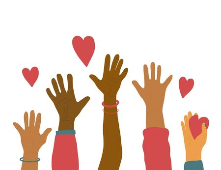 Volunteers concept. Different up hands with heart isolated on white background. Vector illustration. Ilustração Vetorial