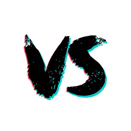 VS screen. Versus sign on divided background. Decorative battle cover with lettering. Vector illustration. 向量圖像