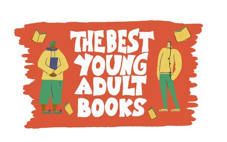 young adults book phrase. Hand drawn quote about reading for teenagers. Text for bookstores, libraries, lists of bestsellers. Vector illustartion. Illustration