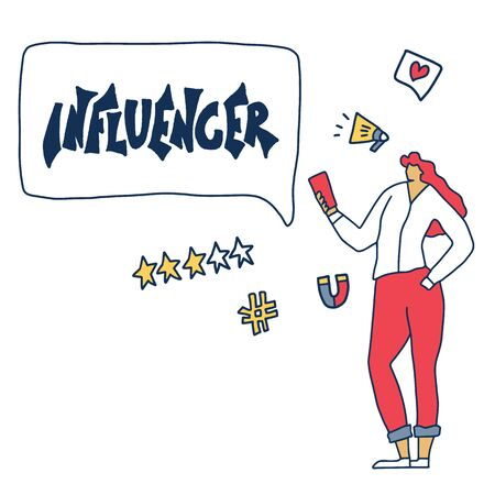 Influencer concept. Young adult characters with hand drawn tex isolated. Girl with phone and blogging symbols. Vector flat illustartion.