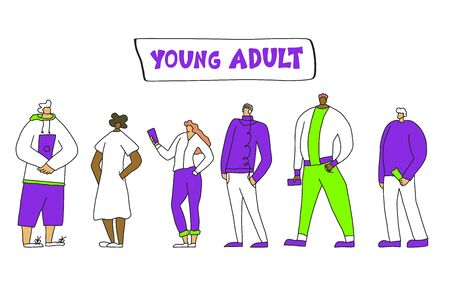 Young adult characters isolated. Vector flat illustartion.