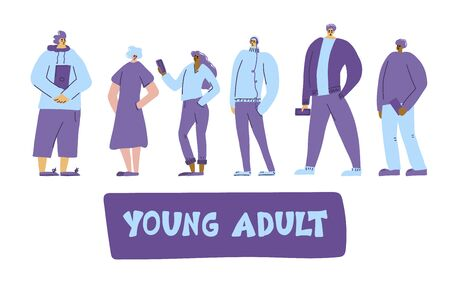 Young adult characters isolated. Generation z. Teenagers standing full lenth. Vector flat illustartion.