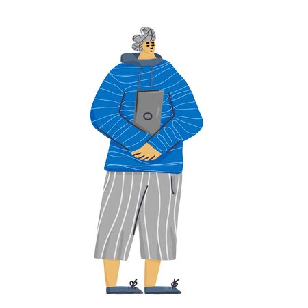 Boy with laptop on white background. Young adult character standing full lenth. Vector flat illustartion.