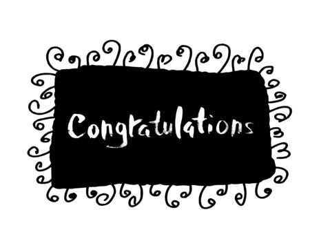 Congratulation ink handwritten text. Emblem with quote.  Vector illustration.