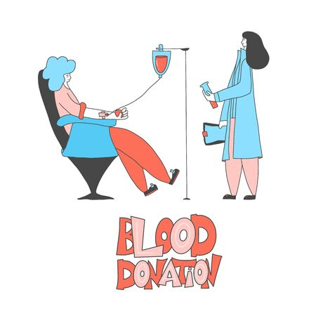 Blood donation concept. Young woman character sitting in a chair and female doctor standing with documents and flak in her hands. Donor and medical nurse. Vector flat illustration.