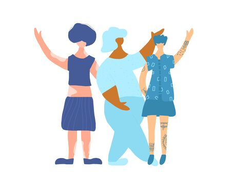 Happy women dressed in blue clothes with different features of appearance isolated on white background. Three girls standing together isolated on white background. Vector color flat illustration.