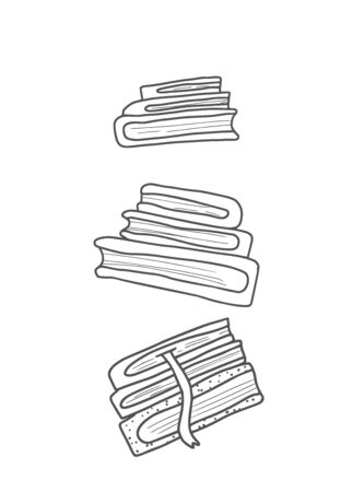 Stack of books. Bunchof symbols of reading. Book set in doodle style. Literature concept. Vector illustration. Illustration