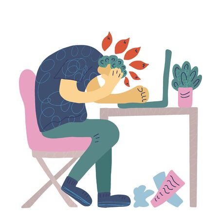 Burnout syndrome concept. Man sitting at the office. Vector person at the table.