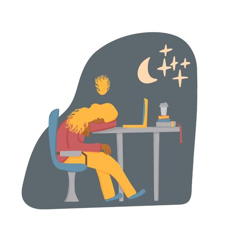 Overtime concept. Tired woman sitting at the table and sleeping. Exhausted freelancer. Vector flat illustration.