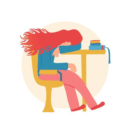 Professional burnout syndrome. Female person sitting at the table and sleeping. Exhausted character at work. Flat vector illustration.