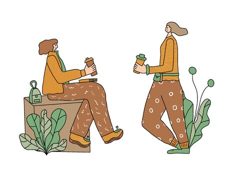 Coffee break. Two fancy women with coffee cups. Vector color illustration. Illustration