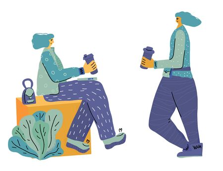Two happy girls with coffee cups have a small talk. Vector flat color illustration. Illustration