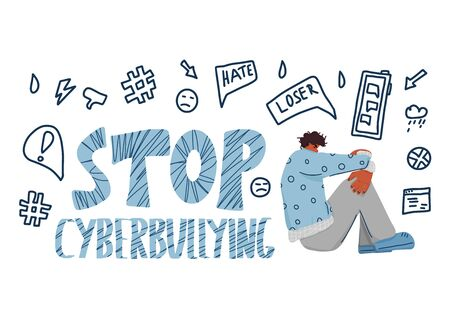 Stop cyberbullying emblem. Hand drawn text with sad young man. Vector illustration.