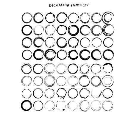 Set of grunge round frames. Collection of black round borders. Bundle of decorative elements for graphic design. Vector illustration. Ilustracja