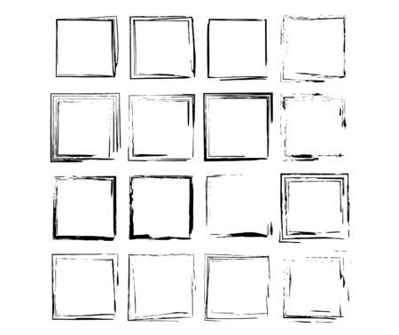 Zestaw ramek kwadratowych grunge. Kolekcja czarnych obramowań. Pakiet elementów do kolażu. Ilustracja wektorowa.