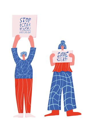 Activists. Two women holding banners with Save the world and Stop ocean plastic pollution slogans. Vector illustration.