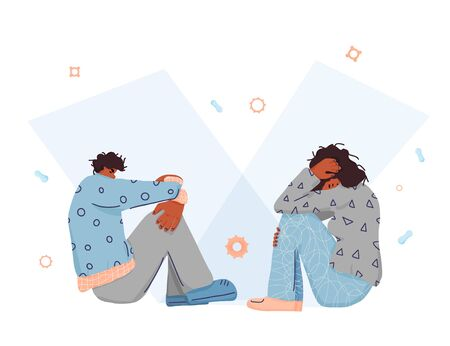 Man and woman are at issue. Girl and boy sitting on the floor with bad mood. Vector illustartion