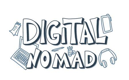 Digital nomad text emblem with decor. Feelance. Vector illustration.