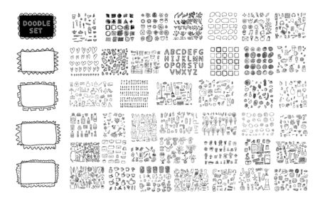 Set of doodle illustration. Hand drawn icons big collection. Vector sketch.