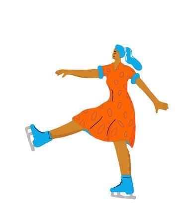 Figure skater. Girl characters isolated on white background. Athlete on the rink. Vector illustartion. Illustration