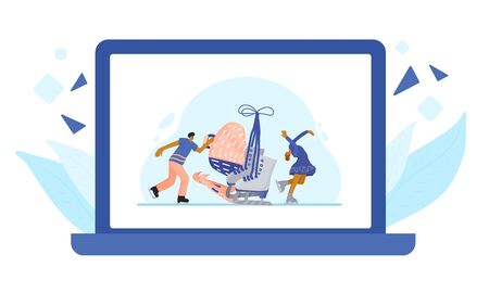 Figure skating concept. Couple of atletes on the rink and sport equipment on laptop screen. Huge pair of ice skates and tiny sportsmen wearing in show clothes dancing at sports arena. Vector flat illustration.