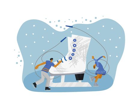 Figure skating concept. Couple of atletes on the rink and sport equipment. Huge ice skate and tiny sportsmen wearing in show clothes dancing at sports arena. Vector flat illustration.