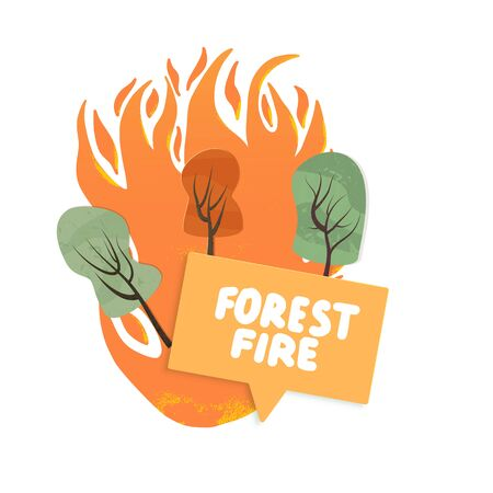 Forest fire concept. Wildfire sign isolated on white background. Vector color illustartion.