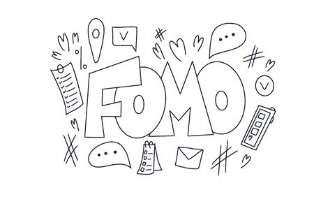 FOMO abbreviation text emblem isolated on white background. Modern social anxiety acronym. Fear of missing out concept. Vector illustration Иллюстрация