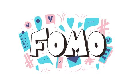 FOMO abbreviation text emblem isolated on white background. Modern social anxiety acronym. Fear of missing out concept. Vector illustration Çizim