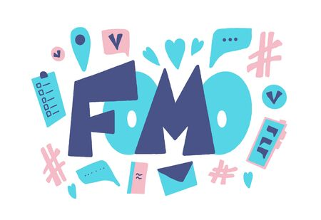 FOMO abbreviation text emblem isolated on white background. Modern social anxiety acronym. Fear of missing out concept. Internet slang lettering. Psychological issues. Vector illustration