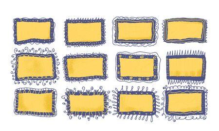 Set of vintage frames. Bundle of hand drawn borders. Collection of decoration elements for collage. Vector color illustration. Standard-Bild - 134629291