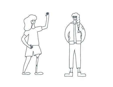Young female characters dressed in casual trendy clothes standing together. Two pretty women isolated on white background. Vector  doodle illustration.