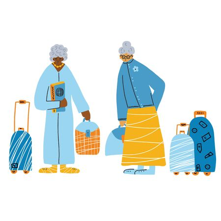 Two old ladies with their luggage are goind to travel. Different ethnicity retired women isolated on white background. Vector flat illustration.