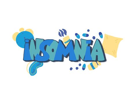 Insomnia text emblem with decoration. Hand drawn text and insomnias symbols:  mask, moon, stars, pillow, alarm clock, pills. Problem with night sleep. Trouble sleeping vector illustration.