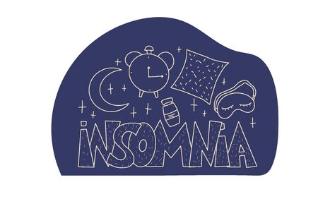 Insomnia emblem with decoration. Hand drawn text and wakefulness symbols:  mask, moon, stars, pillow, alarm clock, pills. Problem with night sleep. Trouble sleeping vector illustration.