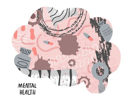 Mental health concept. Human brain with gears, pills, and collage decoration. Vector illustration.