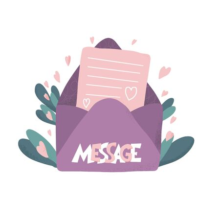 Message concept. Open mail envelop  with flower and hearts decoration. Vector illustration.