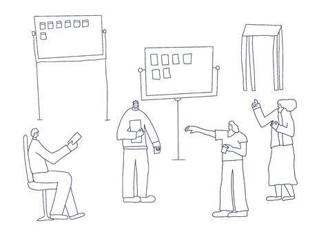 People standing at the board. Office team members lifestyle. Vector illustartion.